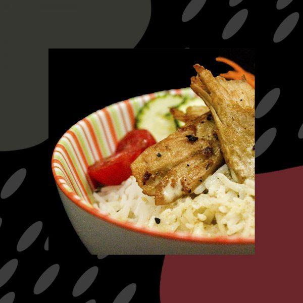Arroz con curry y heura (arroz, heura, curry, leche de coco, zanahoria, judía verde)