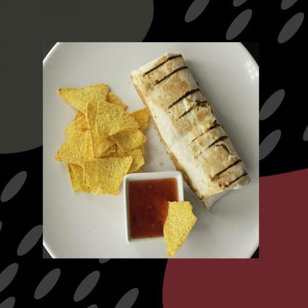 Fajita de heura (heura, cebolla, calabacín, pimiento rojo)