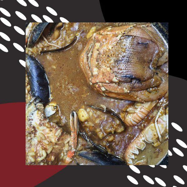 Arroz caldoso de langosta del mediterraneo