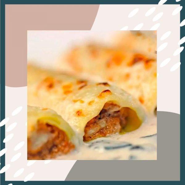 Canelones de rustido gratinados con bechamel y queso manchego